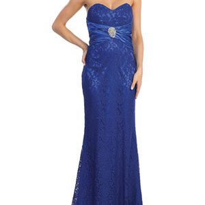 New Royal Blue Strapless Lace Mermaid Gown Dress